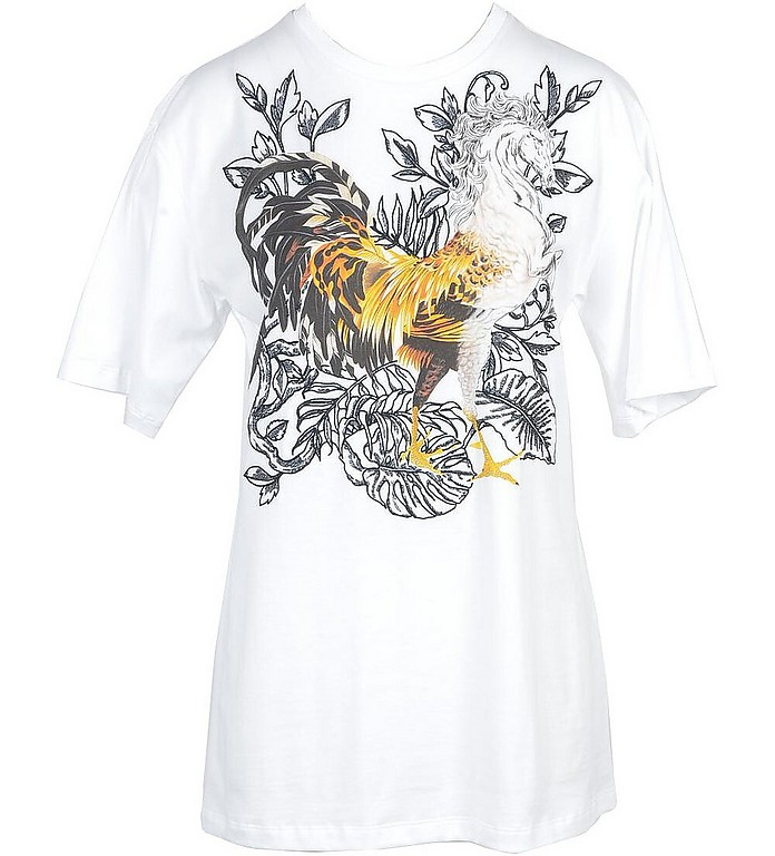 White Cotton Women's T-Shirt - Roberto Cavalli