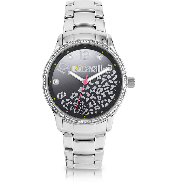 Huge JC 3H Black Dial Silver Stainless Steel Women's Watch - Just Cavalli