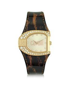 Logo Jc 2H Champagne Dial Brown Strap Women's Watch