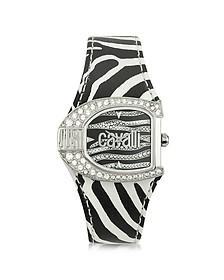 Logo Jc 2H Silver Dial Black Strap Women's Watch
