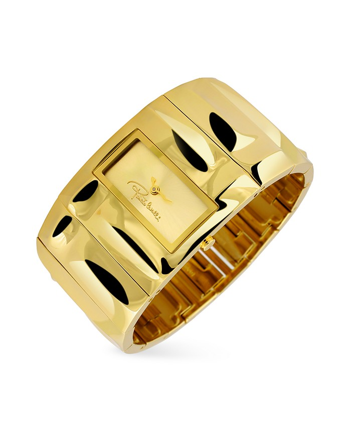 Croco Tail - Gold Plated Cuff Bracelet Watch - Roberto Cavalli
