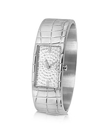 Circum - Silvered Dial Stainless Steel Large Cuff Watch - Just Cavalli
