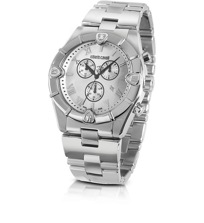Diamond Time - Men's Silver Dial Chronograph Bracelet Watch - Roberto Cavalli