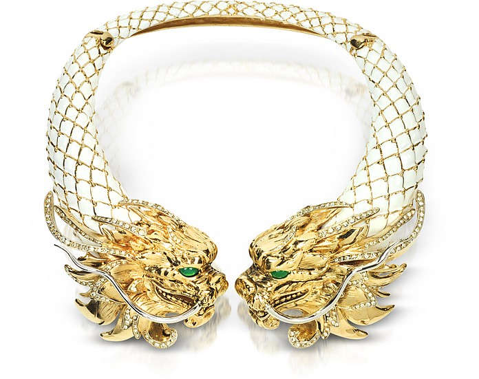 Enamel and Brass Dragon Necklace - Roberto Cavalli