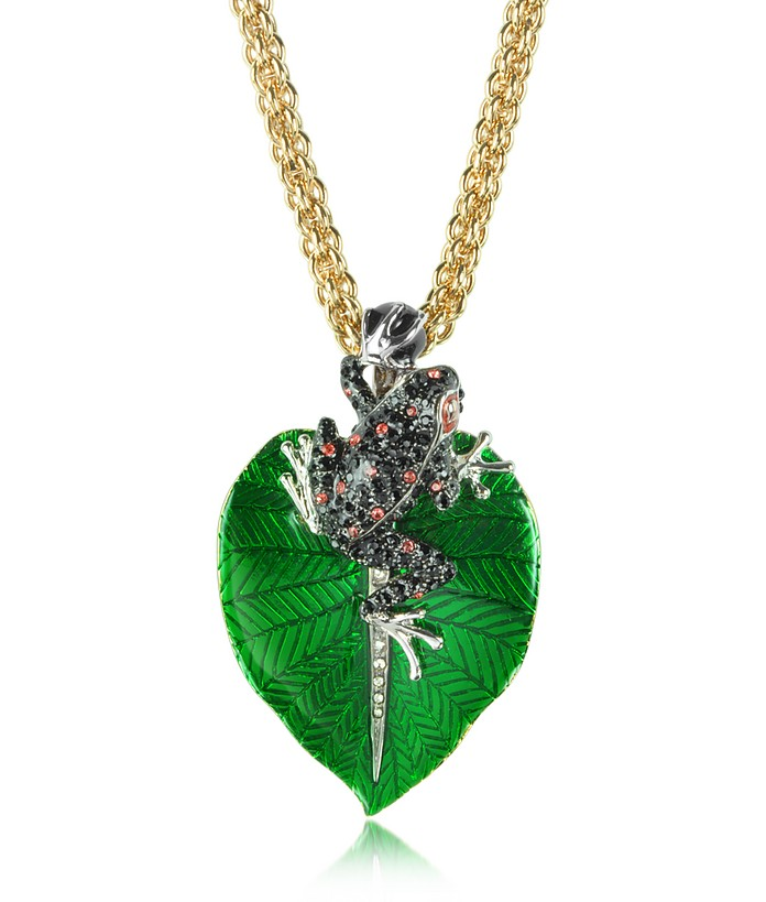 Animal Kingdom Black & Red Crystals and Golden Metal Frog Pendant Necklace - Roberto Cavalli