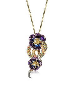 Purple Flower Goldtone Brass Necklace w/Crystals - Roberto Cavalli