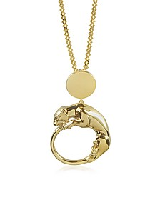 Panther Light Gold Tone Metal Pendant - Roberto Cavalli