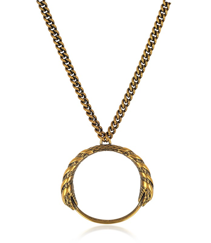 Antique Goldtone Metal Snake Pendant Necklace - Roberto Cavalli