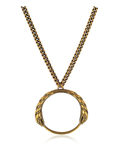 Antique Goldtone Metal Snake Pendant Necklace - Roberto Cavalli