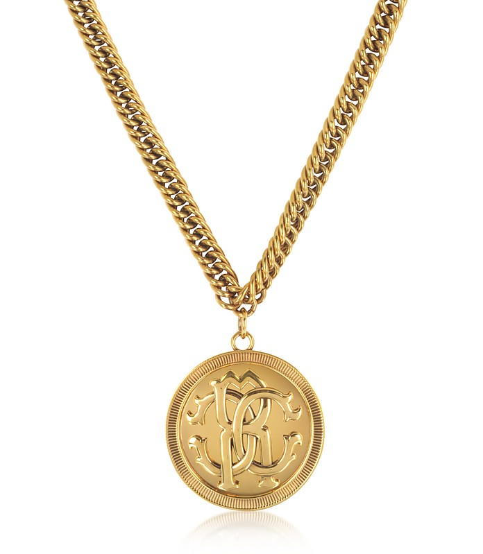 Antique Goldtone Metal Large Logo Coin Pendant Necklace - Roberto Cavalli