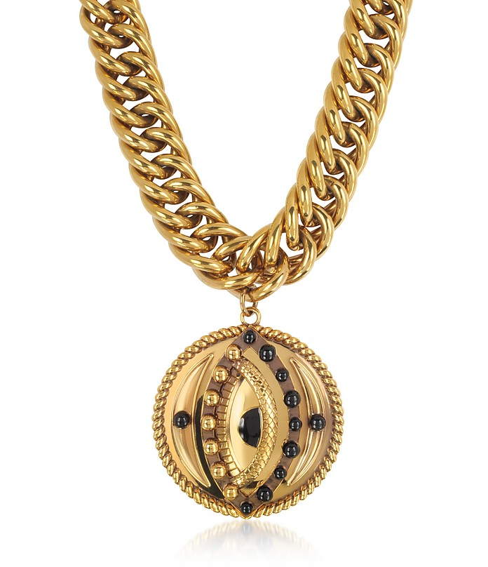 Antique Goldtone Metal Chocker w/Lucky Eye Coin Pendant - Roberto Cavalli