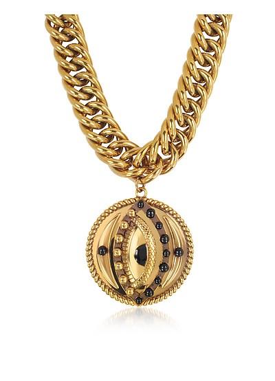 Antique Goldtone Metal Choker w/Lucky Eye Coin Pendant - Roberto Cavalli