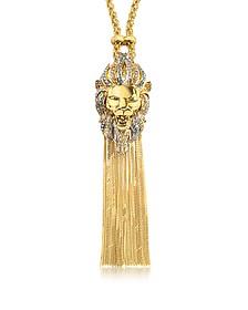 Lion Golden Metal Necklace w/Crystals