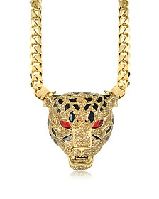 Panther Golden Necklace w/Crystals and Glaze