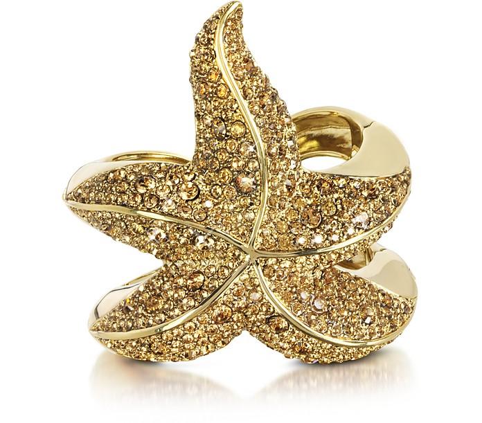 Sea Life Golden Brass w/Crystal Star Fish Bangle - Roberto Cavalli