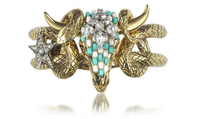 Goldtone Brass Bangle w/Crystals and Beads - Roberto Cavalli