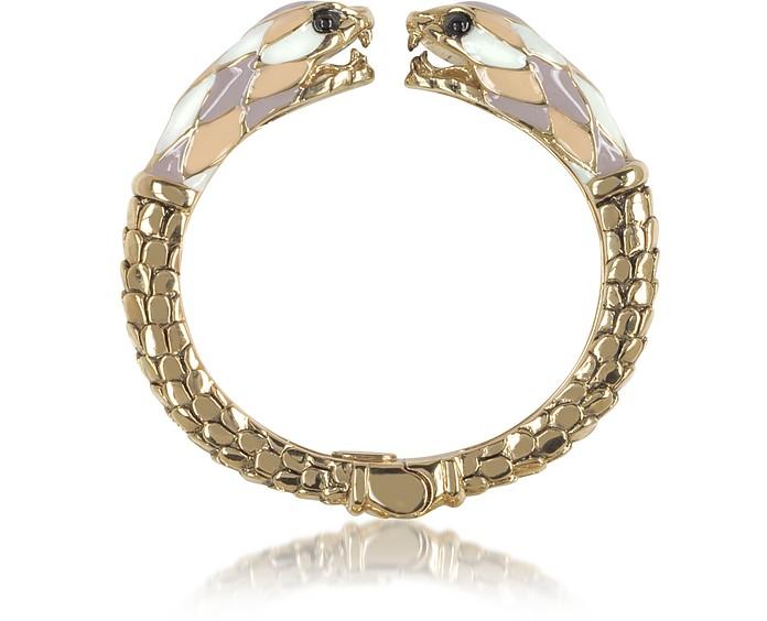 Gold Tone Metal and Multicolor Enamel Double Snake Bangle Bracelet - Roberto Cavalli