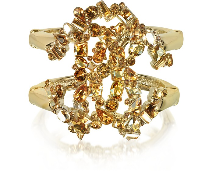 Signature Golden Bangle w/Crystals - Roberto Cavalli