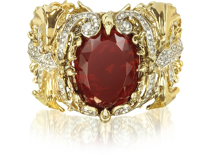 Renaissance Golden Metal Bracelet w/Stone - Roberto Cavalli