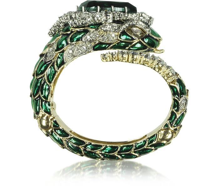 Emerald Green Crystals and Enamel Snake Bracelet - Roberto Cavalli