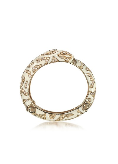 Golden Brass and Ivory Enamel Snake Bangle w/Crystals - Roberto Cavalli