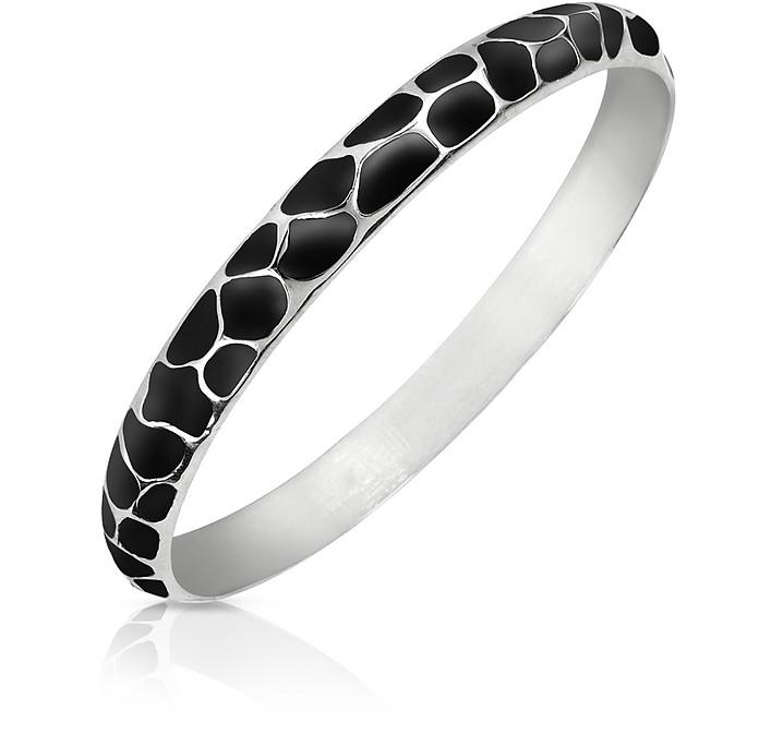 Black Giraffe Patterned Stainless Steel Bangle Bracelet - Just Cavalli