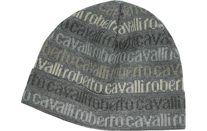 Roberto Cavalli Gray Signature Print Wool Blend Men s Hat at FORZIERI 98cf95872ac