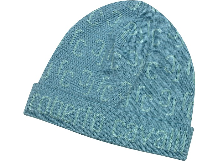 All Over Logo Brim Knit Wool Skull Cap - Roberto Cavalli