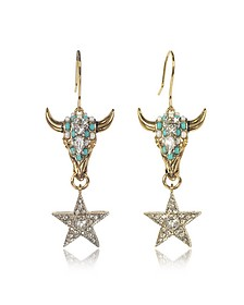 Goldtone Brass Earrings w/Crystals and Mint Green Beads - Roberto Cavalli