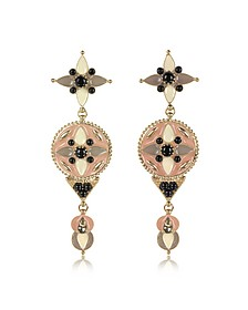 Gold-tone and Enamel w/Multicolor Crystals Long Earrings - Roberto Cavalli