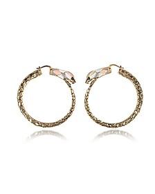 Gold Tone Metal and Multicolor Enamel Snake Hoop Earrings - Roberto Cavalli