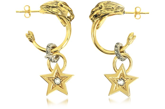 Circus Golden Metal Earrings w/Crystals - Roberto Cavalli / ロベルト カヴァリ