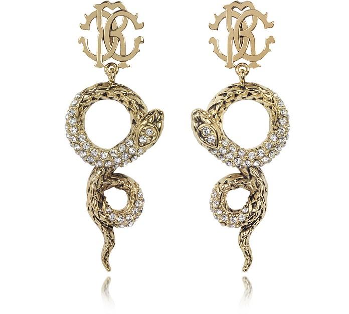 Golden Brass Snake Earrings w/Crystals - Roberto Cavalli