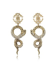 Golden Brass Snake Earrings w/Crystals - Roberto Cavalli