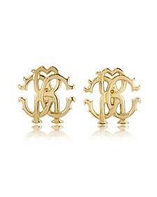 RC Lux Golden Stud Earrings - Roberto Cavalli