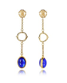 RC Line Gold Tone Earrings w/Deep Blue Stone - Roberto Cavalli