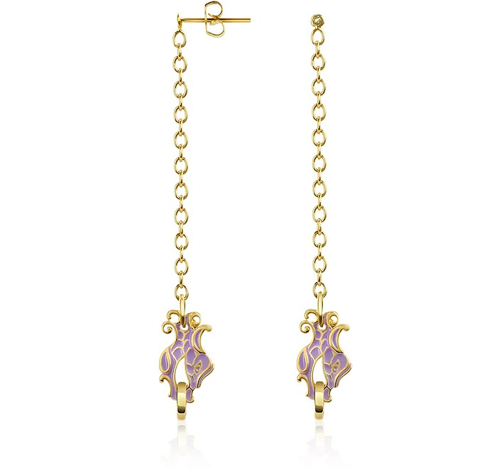 JUST CAVALLI Dragon Enamel Head Drop Earrings in Gold