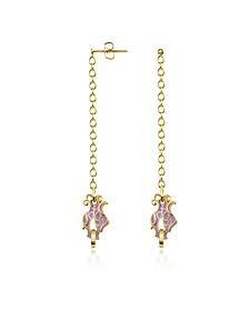 Dragon Enamel Head Drop Earrings - Just Cavalli