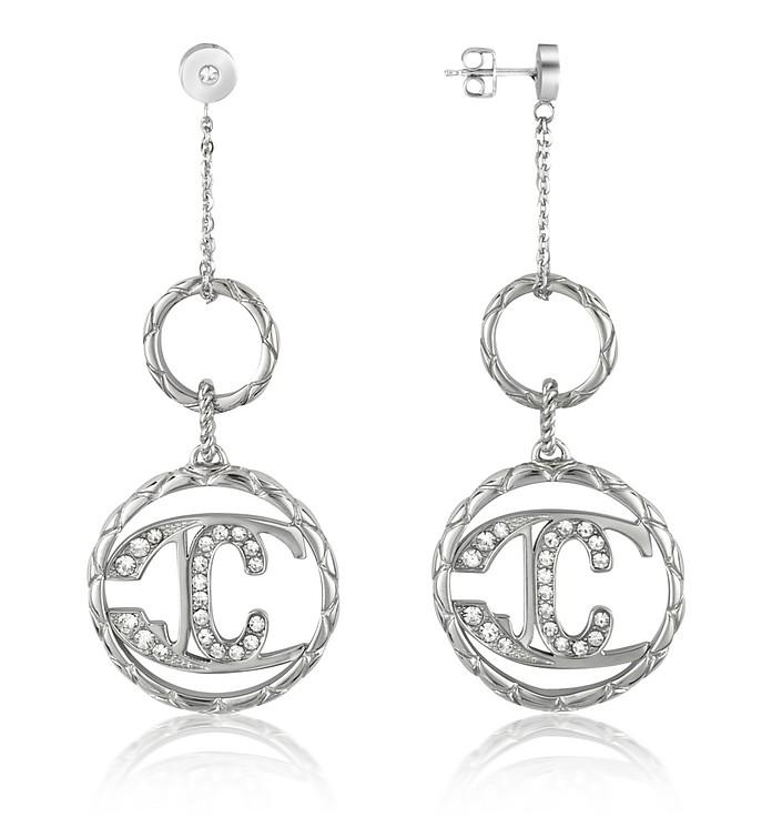 Monogram - Crystal Logo Drop Earrings - Just Cavalli