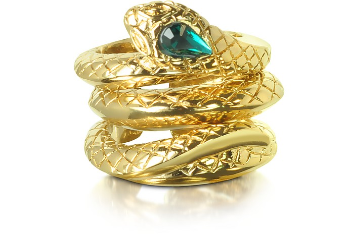 Goldtone Snake 3 Piece Ring Set - Roberto Cavalli
