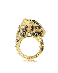 Goldtone with Crystals Panther Ring