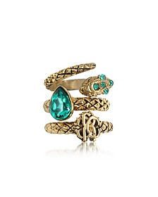 Goldtone Metal Triple Ring w/Blue Crystals - Roberto Cavalli