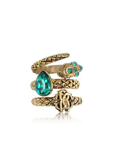 Goldtone Metal Triple Ring w/Blue Crystals - Roberto Cavalli