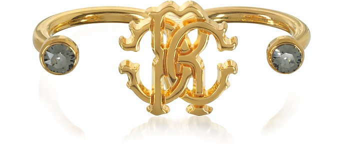 Goldtone Metal Two Fingers Ring - Roberto Cavalli