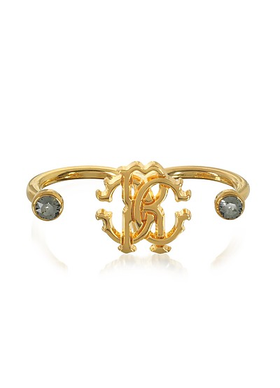 Goldtone Metal Two Fingers Ring - Roberto Cavalli