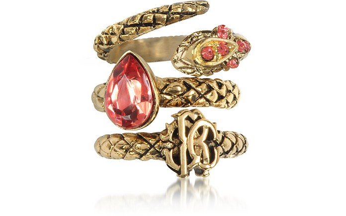 Goldtone Metal Triple Ring w/Red Crystals - Roberto Cavalli / ロベルト カヴァリ