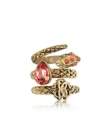 Goldtone Metal Triple Ring w/Red Crystals - Roberto Cavalli