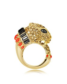 Golden Metal with Enamel and Crystals Precious Panther Ring