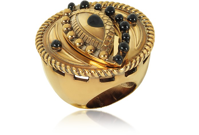 Antique Goldtone Metal and Black Enamel Lucky Eye Symbol Ring - Roberto Cavalli