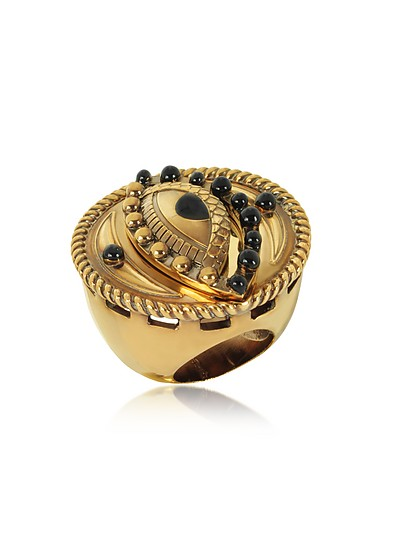 Antique Goldtone Metal and Black Enamel Lucky Eye Symbol Ring - Roberto Cavalli